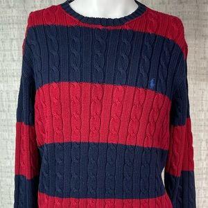 Polo by Ralph Lauren Cotton Crewneck Striped Sweater Medium